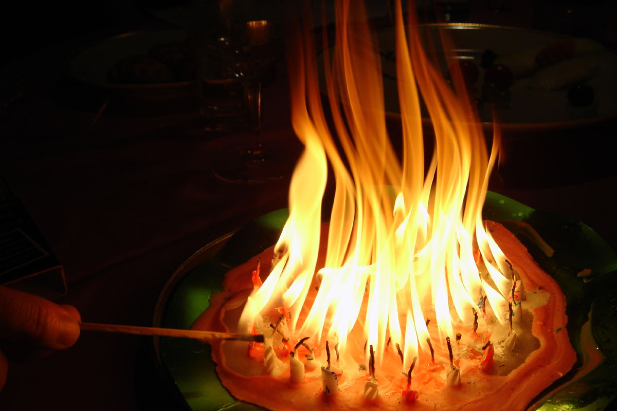 Images Birthday Cake On Fire : Birthday Cake Candles Fire^@#